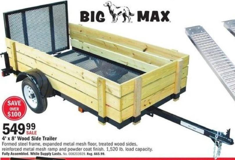 Mills Fleet Farm Black Friday: Big Max 4' x 8' Wood Side Trailer for $549.99