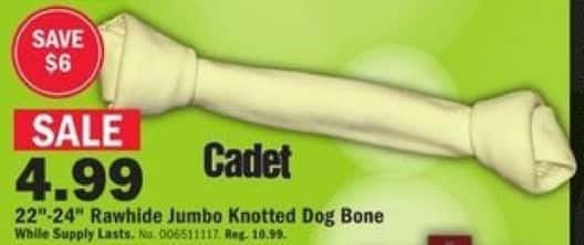"Mills Fleet Farm Black Friday: Cadet 22""-24"" Rawhide Jumbo Knotted Dog Bone for $4.99"