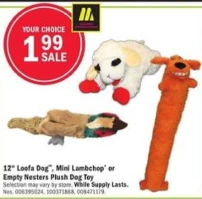 "Mills Fleet Farm Black Friday: 12"" Loofa Dog, Mini Lambchop or Empty Nesters Plush Dog Toy for $1.99"