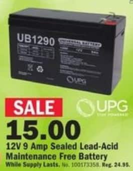 Mills Fleet Farm Black Friday: UPG 12V 9 Amp Sealed Lead-Acid Maintenance Free Battery for $15.00