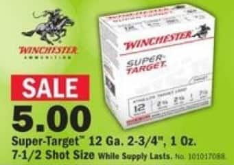 "Mills Fleet Farm Black Friday: Winchester Super-Target 12 Ga. 2-3/4"", 1 Oz. 7-1/2 Shot Size Shotgun Shells for $5.00"