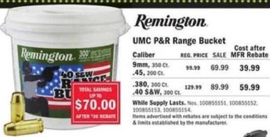 Mills Fleet Farm Black Friday: Remington UMC P&R Range Bucket, .40 S&W Caliber, 300 rd. for $59.99 after $30 rebate