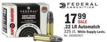 Mills Fleet Farm Black Friday: Federal .22 LR Automatch, 325 rd. for $17.99