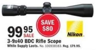 Mills Fleet Farm Black Friday: Nikon 3-9x40 BDC Rfile Scope for $99.95