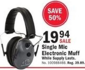 Mills Fleet Farm Black Friday: Walker Single Mic Electronic Muff for $19.94