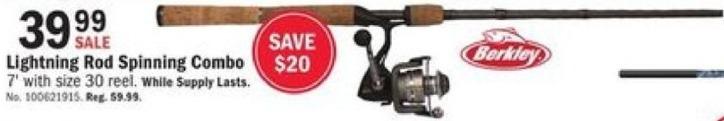 Mills Fleet Farm Black Friday: Berkley Lightning Rod Spinning Combo for $39.99