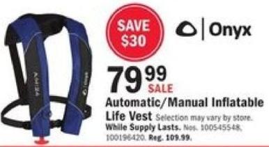 Mills Fleet Farm Black Friday: Onyx Automatic/Manual Inflatable Life Vest for $79.99