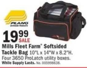Mills Fleet Farm Black Friday: Plano Mills Fleet Farm Softsided Tackle Bag w/ Four 3650 ProLatch Utility Boxes for $19.99