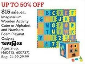 Toys R Us Black Friday: Imaginarium Wooden Activity Cube or Alphabet and Numbers Foam Playmat for $15.00