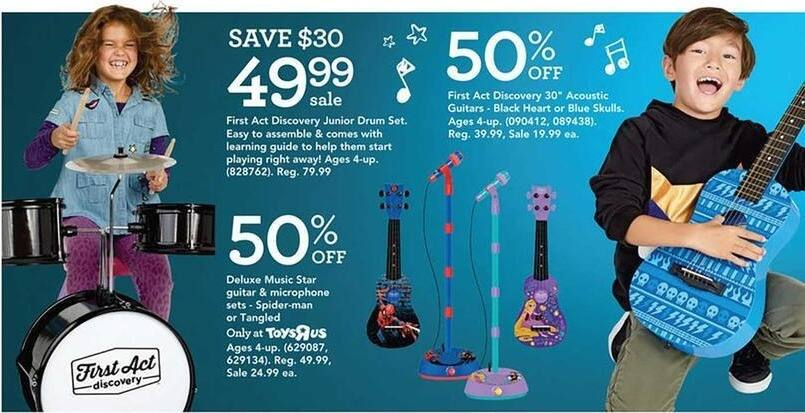 """Toys R Us Black Friday: First Act Discovery 30"""" Acoutstic Guitars, Black Heart or Black Skulls Styles for $19.99"""