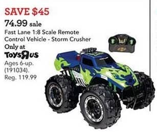 Toys R Us Black Friday: Fast Lane 1:8 Scale Remote Control Vehicle, Storm Crusher for $74.99
