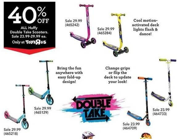 Toys R Us Black Friday: All Huffy Double Take Scooters for $23.99 - $29.99