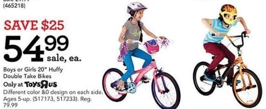 Toys R Us Black Friday: Huffy Double Take Bikes for Boys or Girls for $54.99