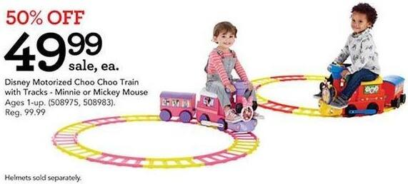 Toys R Us Black Friday: Disney Motorized Choo Choo Train with Tracks, Minnie and Mickey Mouse Styles for $49.99