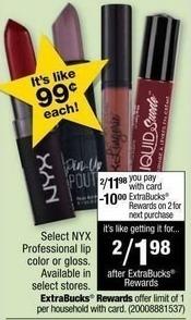 CVS Black Friday: (2) Select NYX Professional Lip Color or Gloss + $10 ExtraBucks Rewards for $11.98