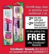 CVS Black Friday: GUM Toothbrush, 2 pk., Deep Clean or Sensitive Care Styles + $2.50 ExtraBucks Rewards for $2.50