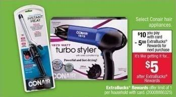 CVS Black Friday: Select Conair Hair Appliances + $5 ExtraBucks Rewards for $10.00