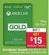 CVS Black Friday: Xbox Live Gold 3 Month Gift Card + $15 ExtraBucks Rewards for $24.99