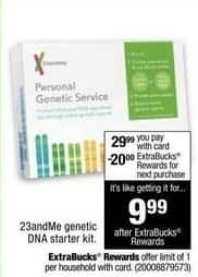 CVS Black Friday: 23andMe Genetic DNA Starter Kit + $20 ExtraBucks Rewards for $29.99