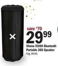 Meijer Black Friday: iHome IX360 Bluetooth Portable 360 Speaker for $29.99