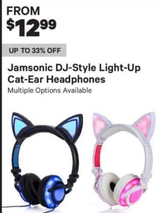 Groupon Black Friday: Jamsonic DJ-Style Light-Up Cat-Eat Headphones for $12.99