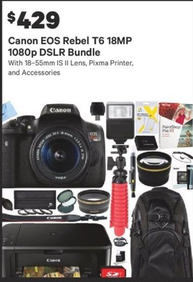 Groupon Black Friday: Canon EOS Rebel T6 18MP 1080p DSLR Bundle for $429.00