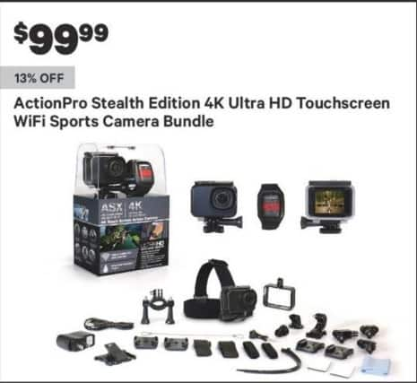 Groupon Black Friday: ActionPro Stealth Edition 4K Ultra HD Touchscreen Wifi Sports Camera Bundle for $99.99