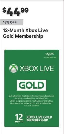 Groupon Black Friday: 12-Month Xbox Live Gold Membership for $44.99