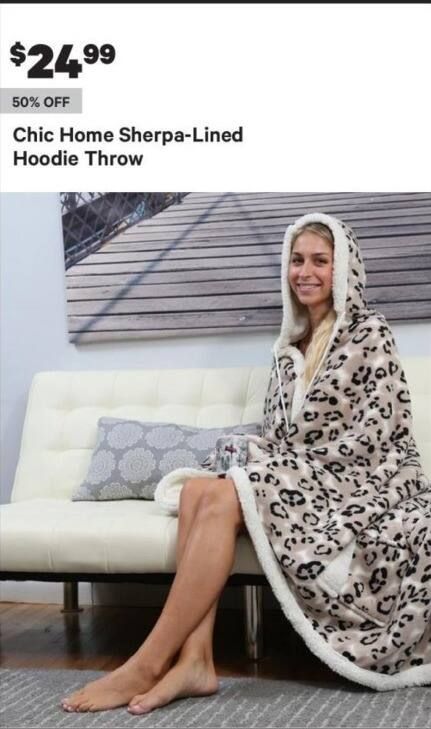 Groupon Black Friday: Chic Home Sherpa-Lined Hoodie Throw for $24.99