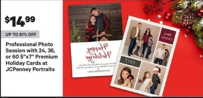 """Groupon Black Friday: JCPenney Portraits Professional Photo Session w/ 24, 36, or 60 5""""x7"""" Premium Holiday Cards for $14.99"""
