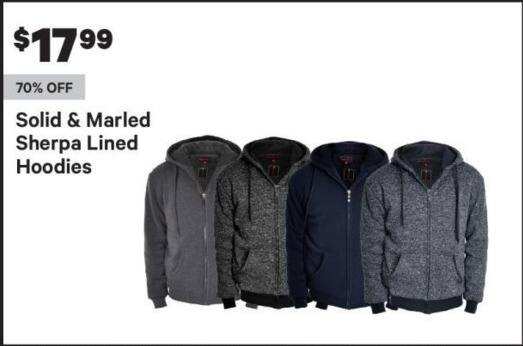 Groupon Black Friday: Men's Sherpa Lined Hoodies, Solid and Marled Styles for $17.99