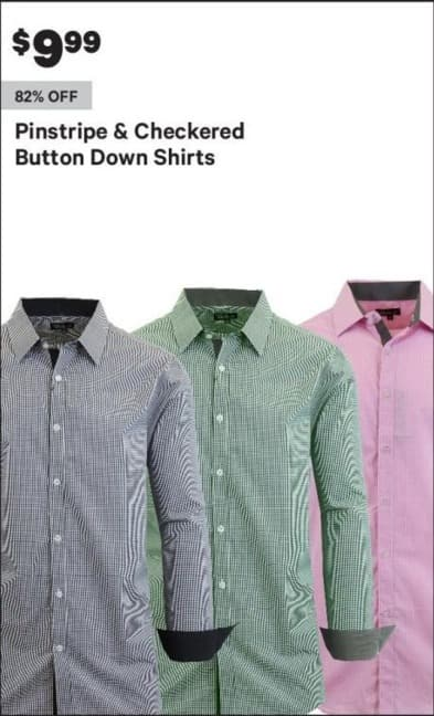 Groupon Black Friday: Men's Button Down Shirts, Pinstripe and Checkered Styles for $9.99