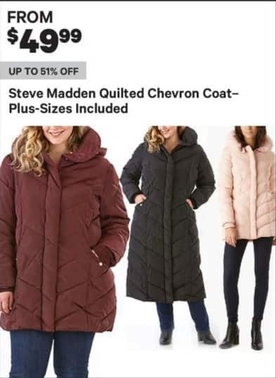 Groupon Black Friday: Steve Madden Women's Quilted Chevron Coat, Regular and Plus Sizes - From $49.99
