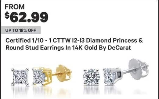 Groupon Black Friday: Certified 1/10 - 1 ct tw DeCarat I2-I3 Diamond Princess & Round Stud Earrings in 14K Gold for $62.99