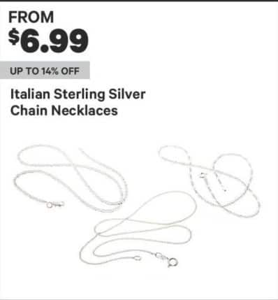 Groupon Black Friday: Italian Sterling Silver Chain Necklaces - From $6.99
