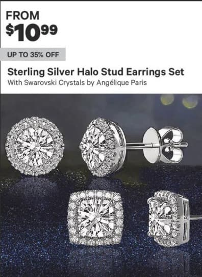 Groupon Black Friday: Angelique Paris Sterling Silver Halo Stud Earrings Set w/ Swarovski Crystals - From $10.99