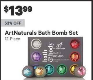 Groupon Black Friday: ArtNaturals Bath Bomb Set, 12 Piece for $13.99