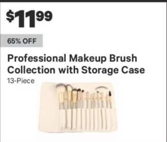 Groupon Black Friday: Professional Makeup Brush Collection w/ Storage Case, 13-Piece for $11.99