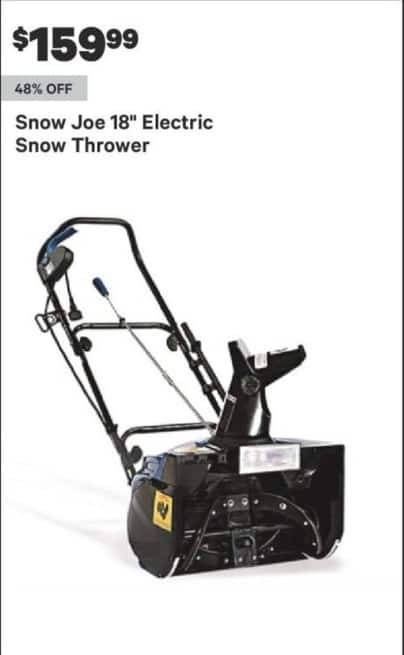 """Groupon Black Friday: Snow Joe 18"""" Electric Snow Thrower for $159.99"""
