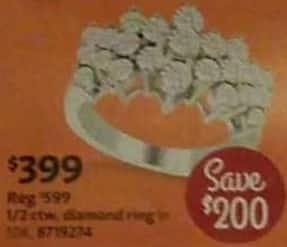 AAFES Cyber Monday: 1/2 ct tw Diamond Ring for $399.00