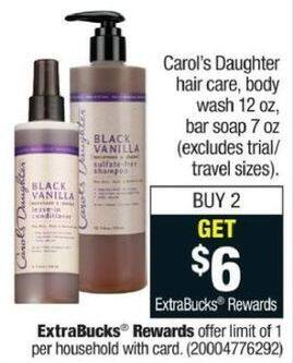 CVS Black Friday: (2) Carol's Daughter Hair Care and Body Wash, 12 oz + $6 ExtraBucks Rewards - B2G $6 ExtraBucks Rewards