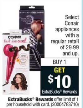 CVS Black Friday: Select Conair Appliances /w $29.99 Purchase + $10 ExtraBucks Rewards - B1G $10 ExtraBucks Rewards