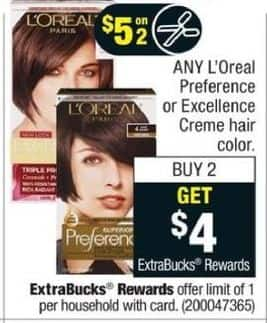 CVS Black Friday: Any (2) L'Oreal Creme Hair Color, Preference or Excellence + $4 ExtraBucks Rewards /w Coupon for $5.00