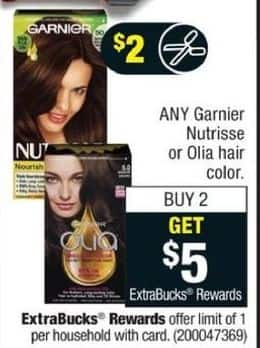 CVS Black Friday: Any (2) Hair Color from Garnier Nutrisse or Olia + $5 ExtraBucks Rewards w/ Coupon - B2G $5 ExtraBucks Rewards