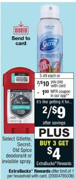 CVS Black Friday: Select (3) Deodorant or Invisible Spray from Gillete, Seceret and Old Spice + $4 ExtraBucks Rewards - B3G $4 ExtraBucks Rewards