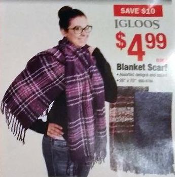 Menards Black Friday: Igloos Women's Blanket Scarf for $4.99