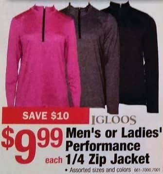Menards Black Friday: Igloos Performance 1/4 Zip Jacket for Men and Women for $9.99