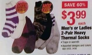 Menards Black Friday: 2-Pair Heavy Thermal Socks for Men or Women for $3.99