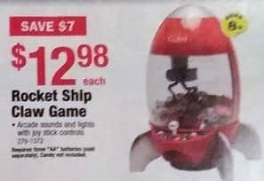 Menards Black Friday: Rocket Ship Claw Game for $12.98