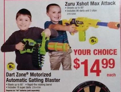 Menards Black Friday: Dart Zone Motorized Automatic Gatling Blaster for $14.99